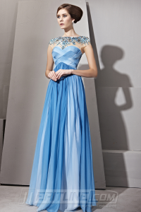 Blue Satin Evening Dress