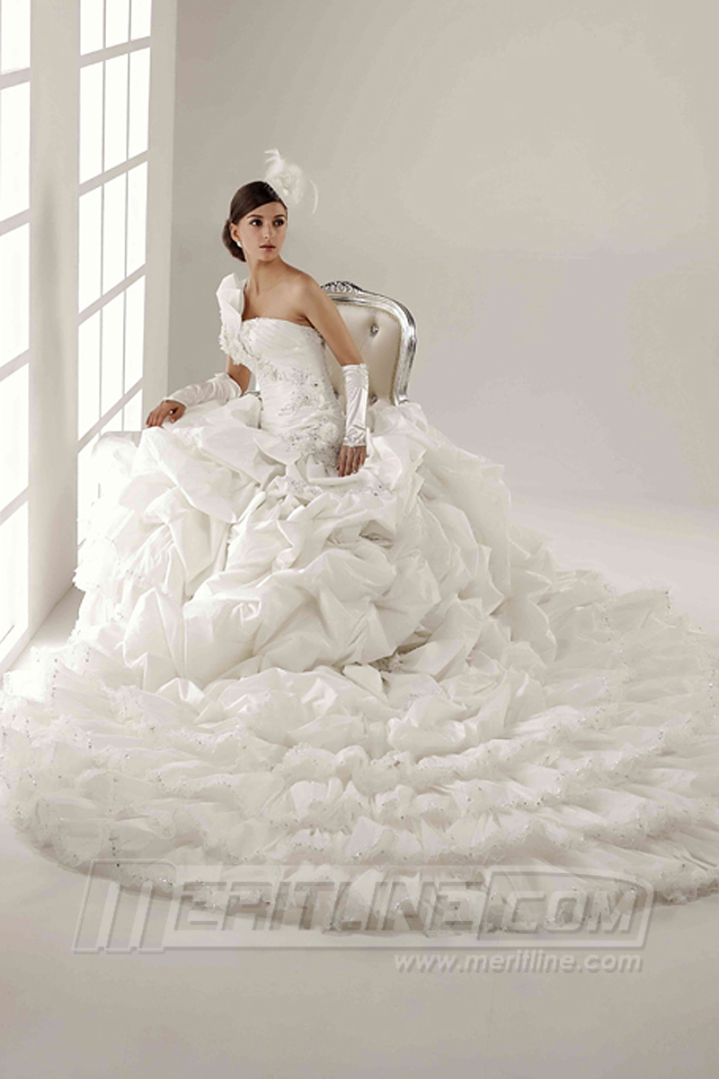 Tailored Bridal Gown Wedding Dress Ball Silhouette One Shoulder With Royal Train In Satin Flower Bead Custom Size Available 29999