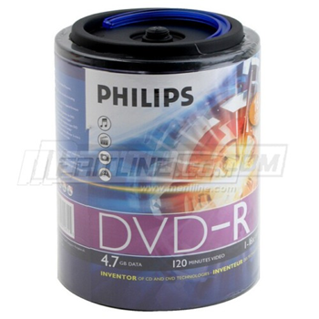 102-680Philips DVD-R 16X Silver Branded Blank DVDR Media Disc (DM4S6H00F/17) 4.7GB in 100 Pack Spindle with Handle