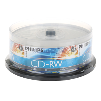 Philips CD-RW 4X-12X Silver Branded Rewritable CDRW Blank Media Discs (CDRW8012/550) 80Min/700MB in 25 Pack Cake Box
