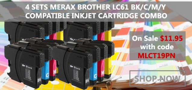 4 Sets Merax Brother LC61 Compatible Inkjet Cartridge Combo - $11.95