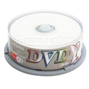 Ritek Ridata DVD-R Dual Layer (DL) 4X White Inkjet Printable Double Layer Media Discs (DRD-85-RDIW-CB25) 8.5GB in 25 Pack Cake Box