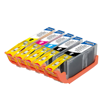 Canon PGI-250XL + CLI-251XL Compatible High Yield Inkjet Cartridges With New Chip Combo: One Each of Pgi Black, Cli Black, Cyan, Magenta, Yellow
