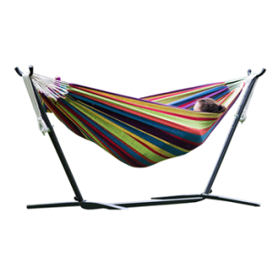 Merax Brown Stripe Cotton Hammock with Heavy Duty Steel Stand Frame - $88.99