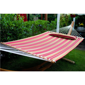 Merax Hammock Hardwood Spreader bars with Pillow Multicoloured Stripe, Outdoor Use (Red) - $45.99