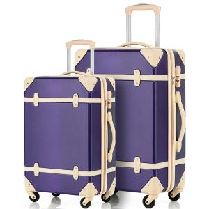 Merax Travelhouse 2 Piece ABS Luggage Set Vintage Suitcase